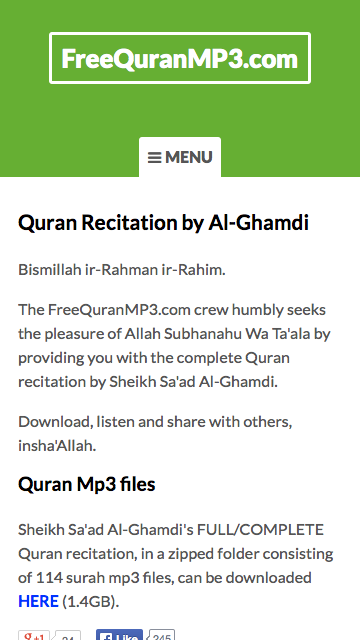 Al-Quran MP3 - Recitation by Al-Ghamdi