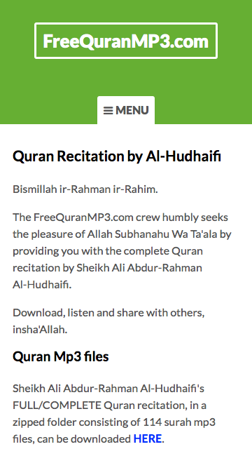 Al Quran Mp3 Recitation By Al Hudhaifi
